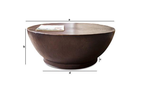 Dimensions du produit Table basse métal Calaba