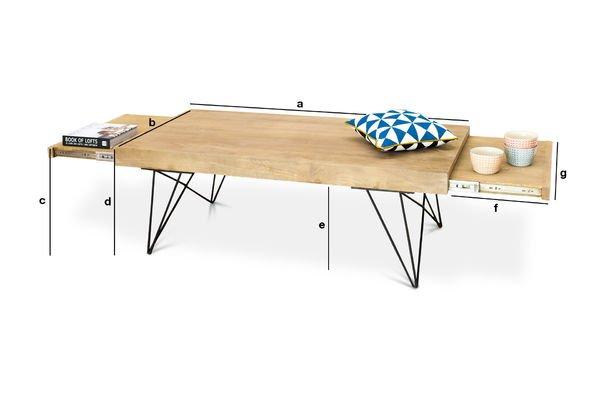 Dimensions du produit Table basse ou banquette à rallonges Zurich