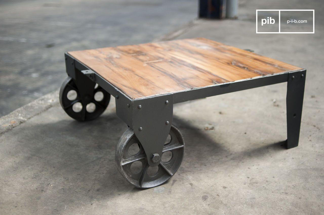 Table basse vintage railway roues en fonte pib