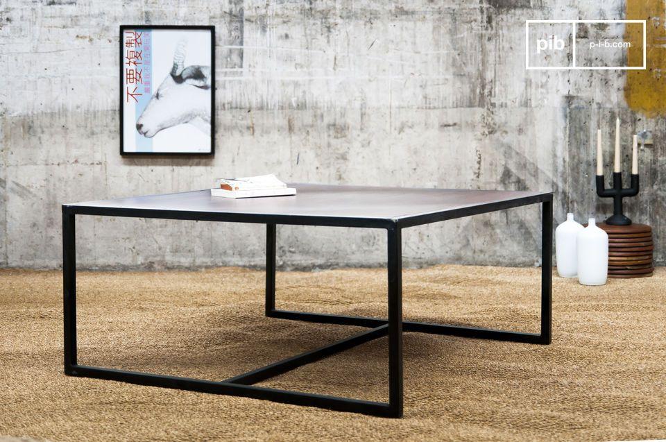 Table basse de salon 100% métal et bois