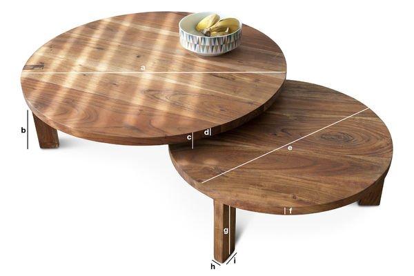 Dimensions du produit Table basse Stockholm double disque