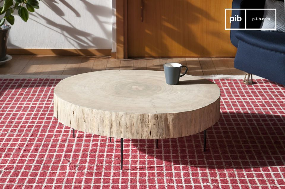 Table basse tronc d 39 arbre natural luka bois 100 naturel for Table plateau tronc d arbre
