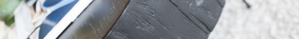Mise en avant matière Table basse tronc d'arbre noire Natural Luka