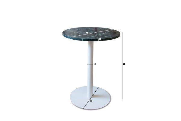 Dimensions du produit Table bistrot en marbre vert Lasby