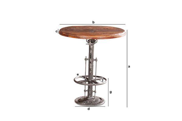 Dimensions du produit Table bistrot en teck réglable Salvage