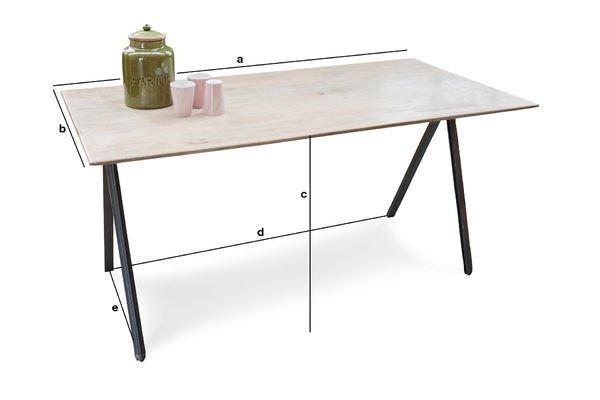 Dimensions du produit Table bois et métal Jetson