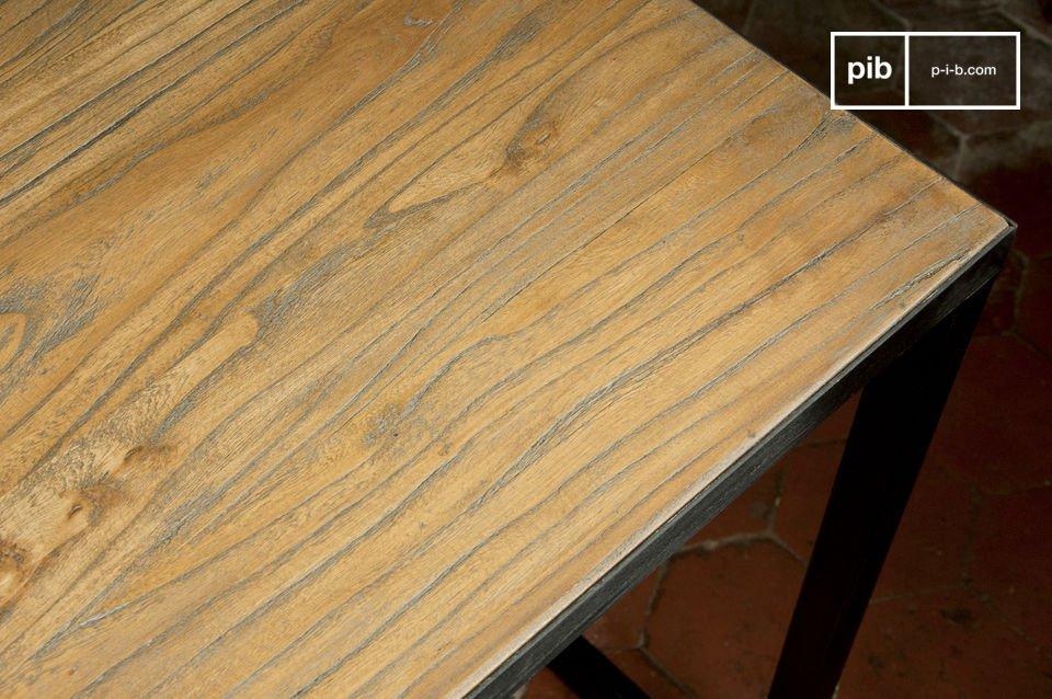 Avec son plateau de bois noble et sa structure en métal