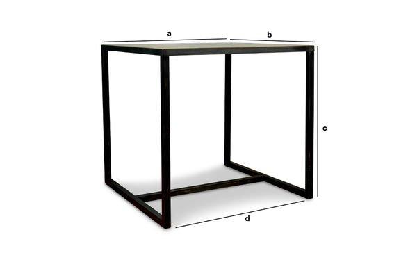 Dimensions du produit Table carrée Manhattan