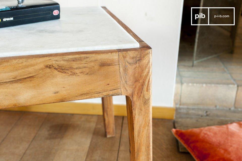 La table d\'appoint carrée Marmori vous séduira par son esthétique raffinée issue d\'une part du