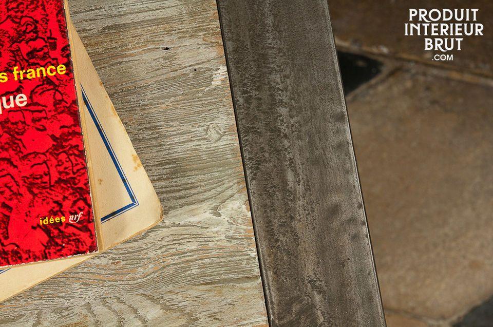 Chevet ou bout de canapé 100% acier et bois ancien