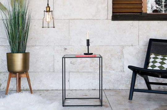 Table d'appoint industrielle en verre anne-lise