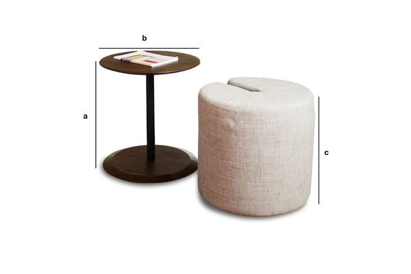 Dimensions du produit Table d'appoint et pouf Victor