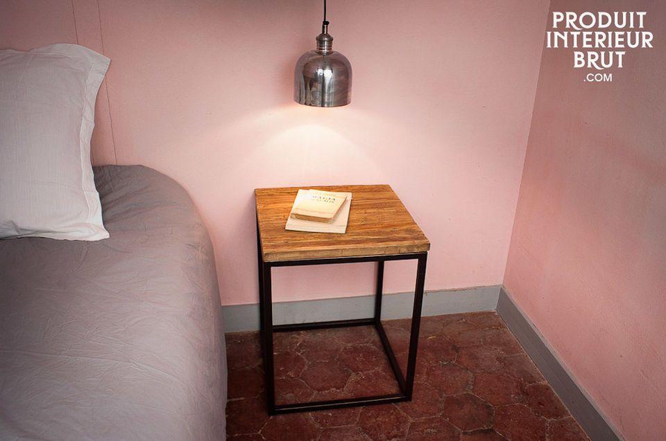 Bout de canapé ou table de chevet, plateau en bois ancien