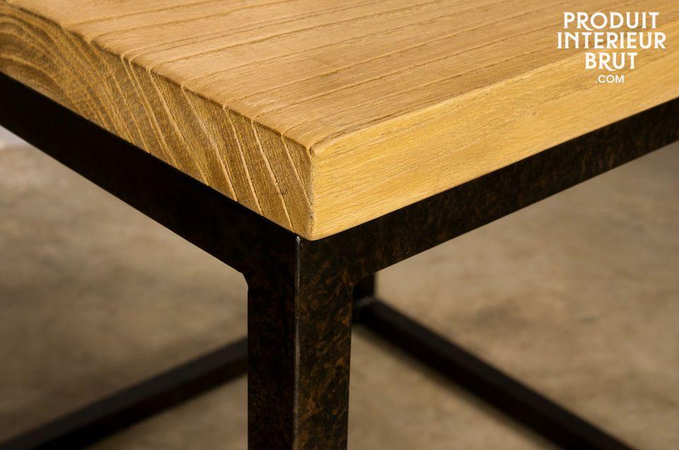 Bout de canapé ou table de chevet, plateau en bois vieilli