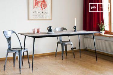 Table de repas en bois et métal Sherman