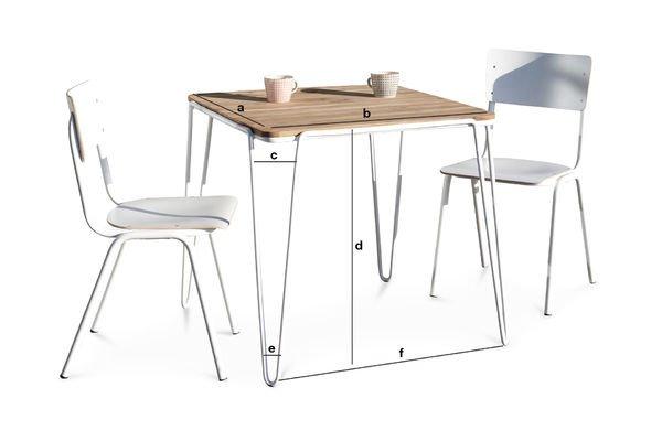 Dimensions du produit Table de repas Espace