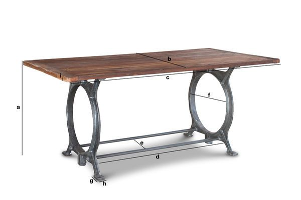 Dimensions du produit Table en teck ancien Tonnel
