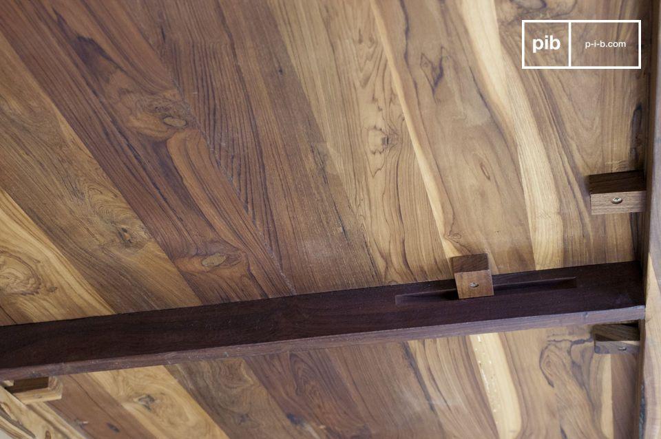 Table à manger en bois noble et en métal