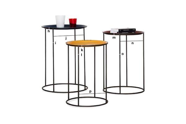 Dimensions du produit Table Gigogne tricolore