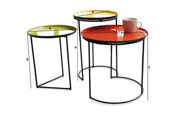 table gigogne tricolore kirk set de trois tables pib. Black Bedroom Furniture Sets. Home Design Ideas