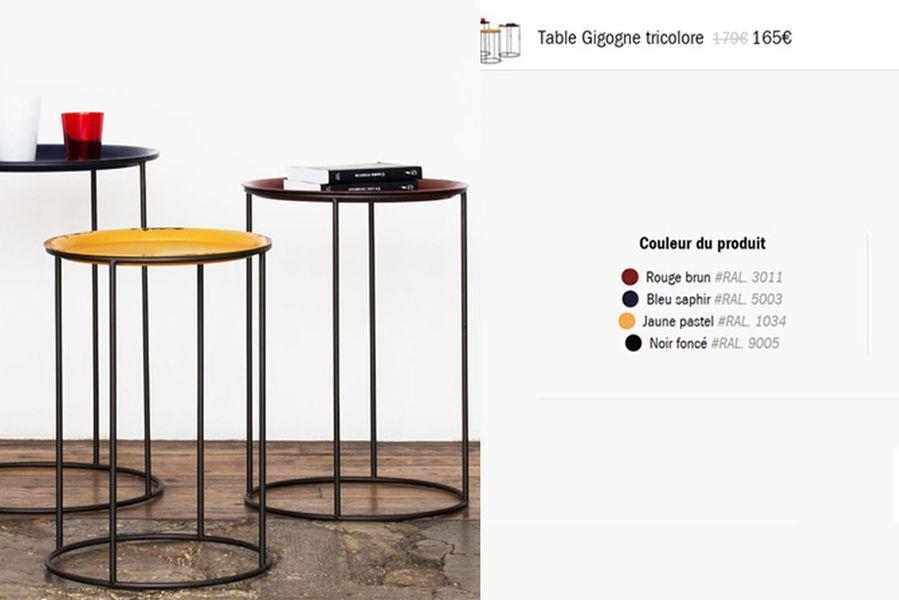 table gigogne tricolore