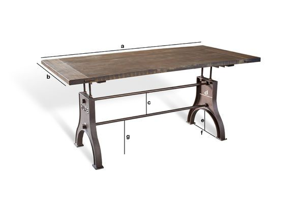 Dimensions du produit Table industrielle ajustable Silver Lake