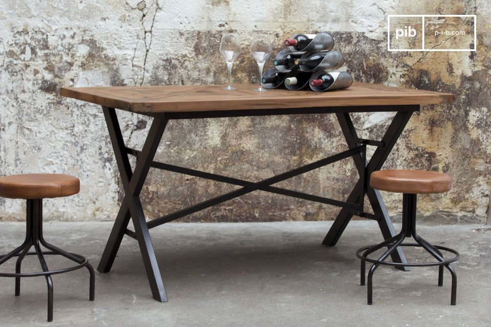 Table industrielle cad table de repas en bois massif au - Transformer une table de cuisine ...