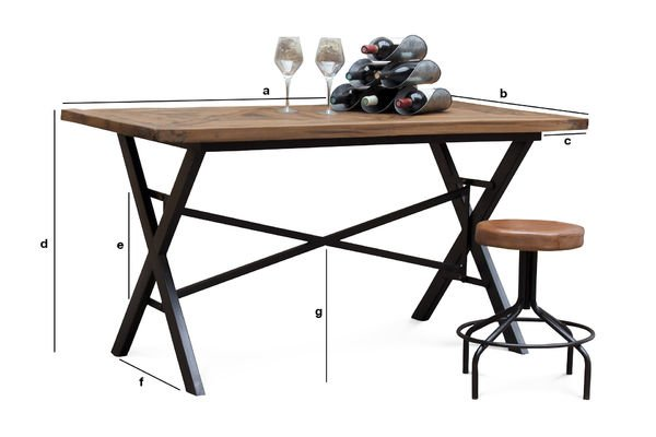Dimensions du produit Table industrielle Cade