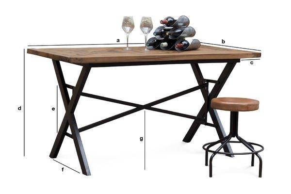 Dimensions du produit Table industrielle Cadé