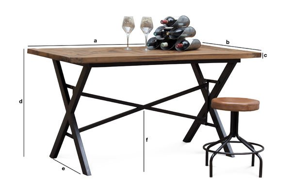 Dimensions du produit Table industrielle Cadé 180 cm