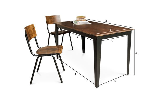 Dimensions du produit Table industrielle Doinel