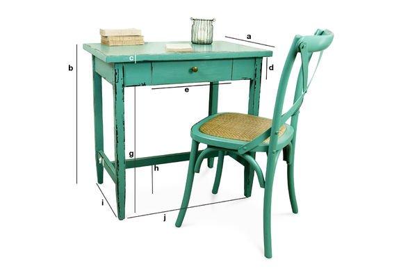 Dimensions du produit Table Lila turquoise