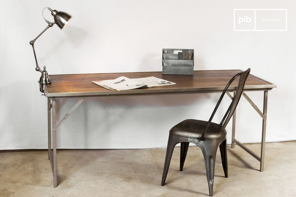 Table bois m tal pliante tr my mobilier design industriel pib - Table en verre pliante ...