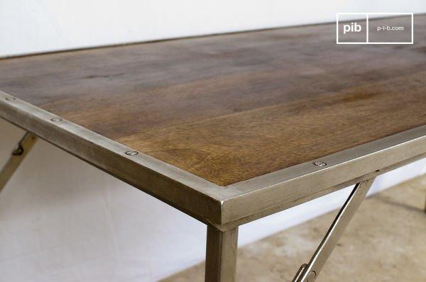 Table Bois Metal Pliante Tremy Mobilier Design Industriel Pib
