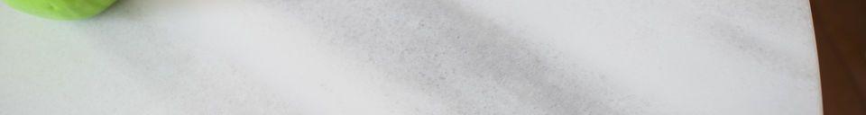 Mise en avant matière Table ronde en marbre blanc Lemvig