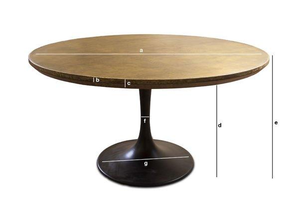 Dimensions du produit Table ronde Liverpool