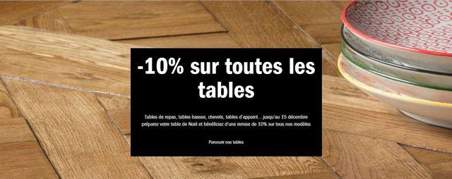 10% offerts sur les tables