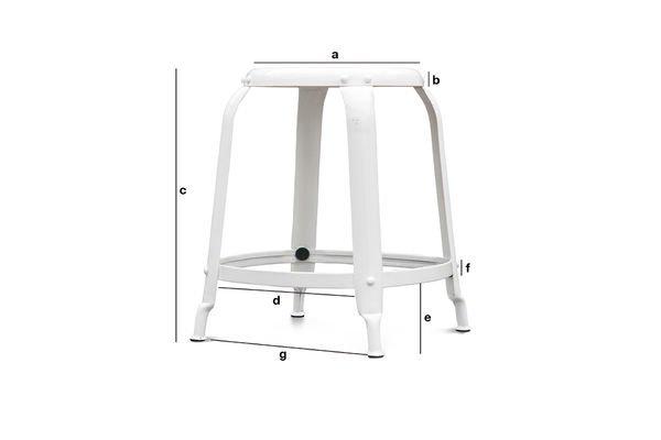 Dimensions du produit Tabouret d'atelier à rivets blanc