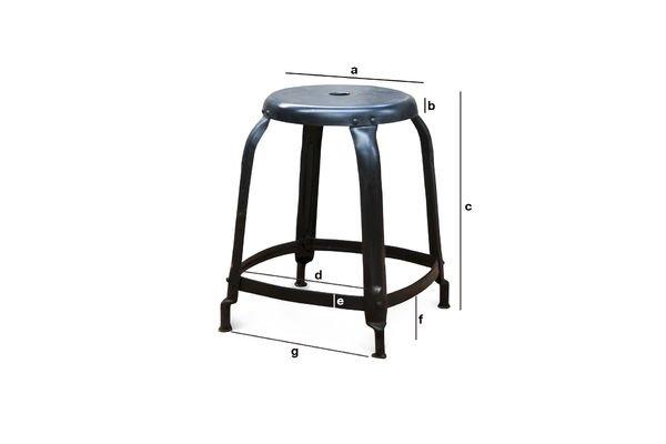 Dimensions du produit Tabouret d'atelier à rivets noir
