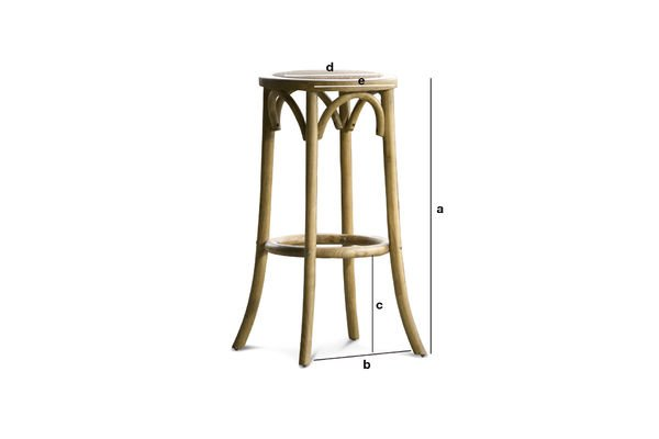 Dimensions du produit Tabouret de bar Pampelune finition naturelle