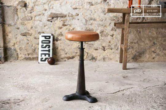 Tabouret industriel de tailleur assise cuir ajustable
