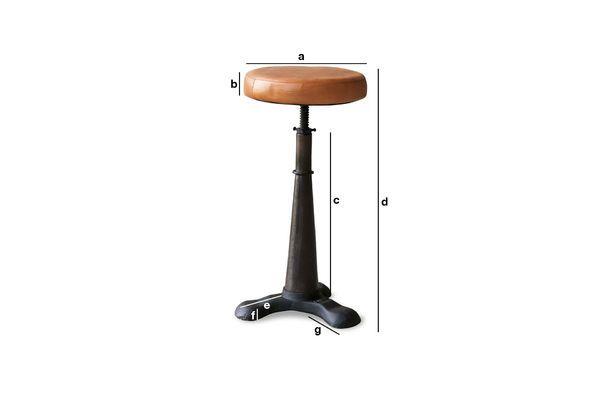 Dimensions du produit Tabouret de tailleur assise cuir ajustable