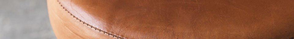 Mise en avant matière Tabouret de tailleur avec assise cuir