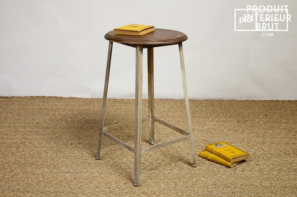 tabouret haut en m tal et bois verni pib. Black Bedroom Furniture Sets. Home Design Ideas