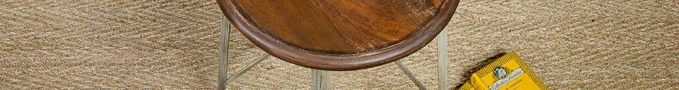 Mise en avant matière Tabouret haut en métal et bois verni
