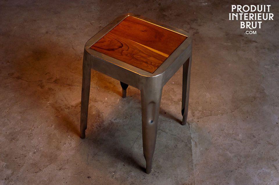 Tabouret métallique avec assise en teck