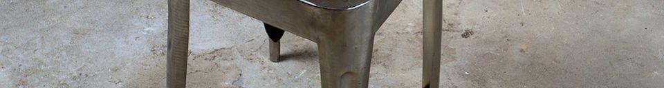 Mise en avant matière Tabouret métallique avec assise en teck