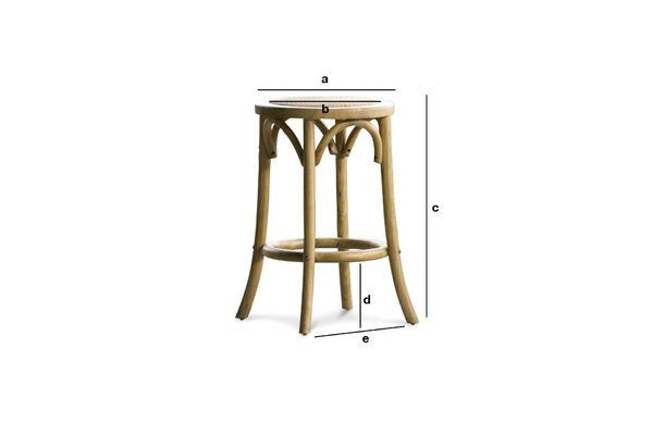 Dimensions du produit Tabouret Pampelune  finition naturelle