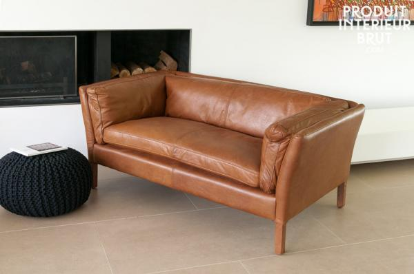 Canapé et fauteuil club en cuir Hamar