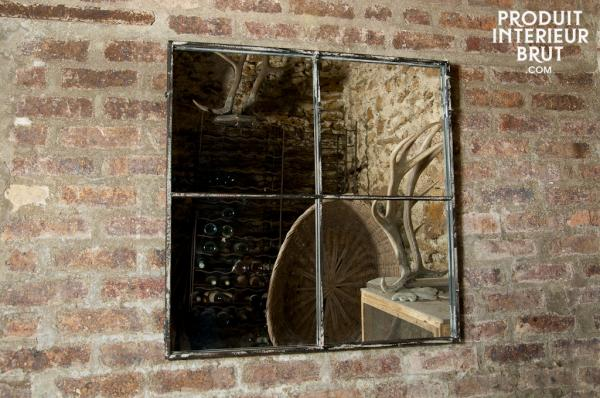 Miroir carré en métal
